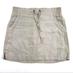Athleta Linen Mini Skirt Beige Pull On Sz 6
